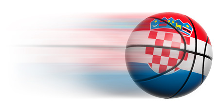 Basketball ball with flag of Croatia in motion isolated photo