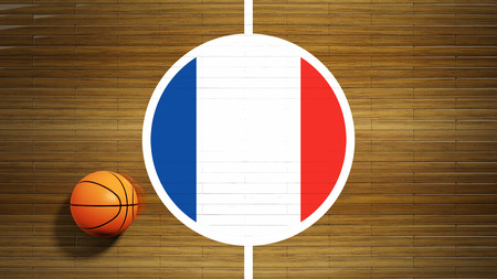 center court: Basketball court parquet floor center with flag of France Stock Photo