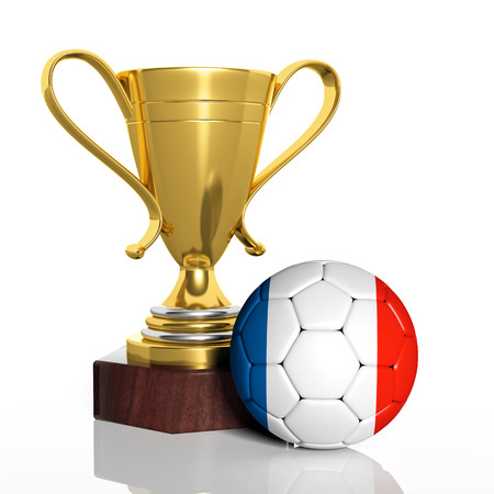 Golden trophy and ball with flag of France isolated photo