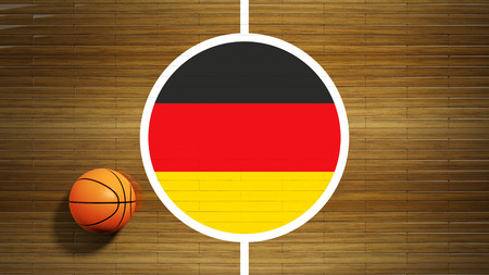 center court: Basketball court parquet floor center with flag of German