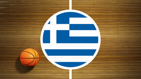 center court: Basketball court parquet floor center with flag of Greece Stock Photo