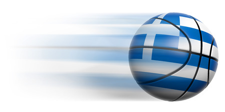 Basketball ball with flag of Greece in motion isolated photo