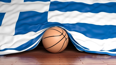 international basketball: Basketball ball with flag of Greece on parquet floor