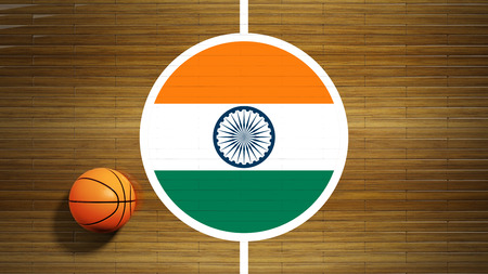 Basketball court parquet floor center with flag of India photo