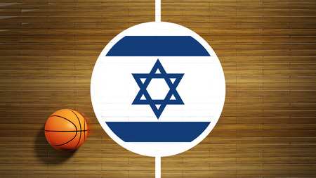 center court: Basketball court parquet floor center with flag of Israel