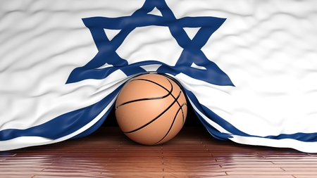 israeli: Basketball ball with flag of Israel on parquet floor Stock Photo