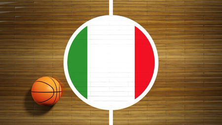 center court: Basketball court parquet floor center with flag of Italy
