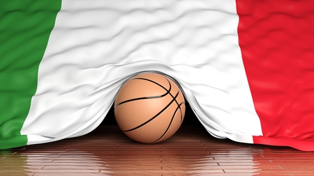 international basketball: Basketball ball with flag of Italy on parquet floor Stock Photo