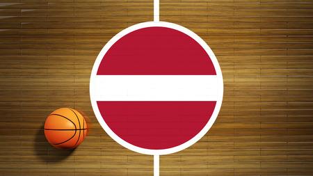 center court: Basketball court parquet floor center with flag of Latvia Stock Photo