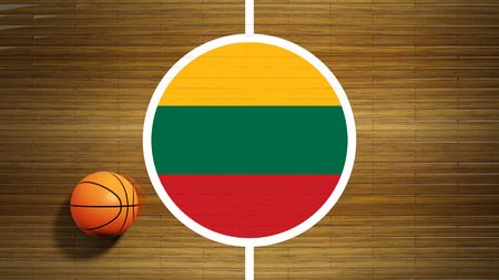 international basketball: Basketball court parquet floor center with flag of Lithuania