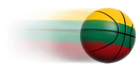 Basketball ball with flag of Lithuania in motion isolated photo