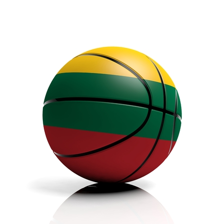 lithuanian: Basketball ball flag of Lithuania isolated on white background