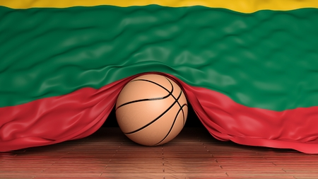 international basketball: Basketball ball with flag of Lithuania on parquet floor Stock Photo