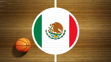 center court: Basketball court parquet floor center with flag of Mexico