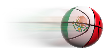 international basketball: Basketball ball with flag of Mexico in motion isolated