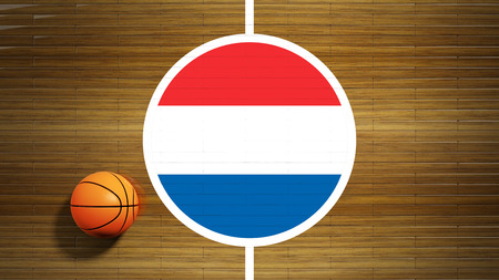 center court: Basketball court parquet floor center with flag of Netherlands