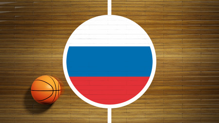 center court: Basketball court parquet floor center with flag of Russia