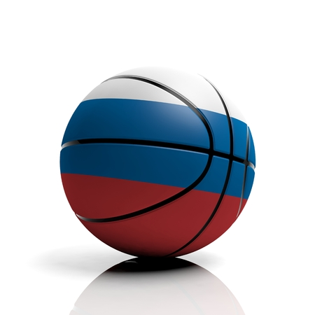 basketball ball: Basketball ball flag of Russia isolated on white background