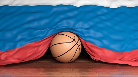 international basketball: Basketball ball with flag of Russia on parquet floor Stock Photo