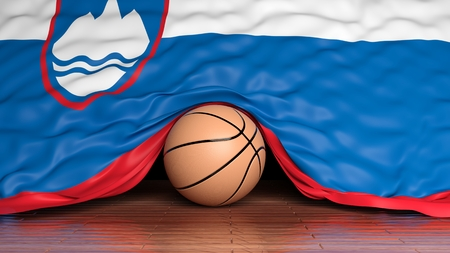 Basketball ball with flag of Slovenia on parquet floor photo