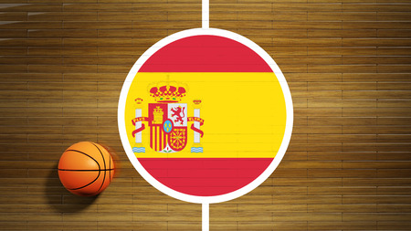 center court: Basketball court parquet floor center with flag of Spain Stock Photo