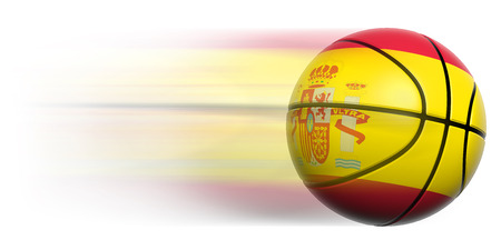 Basketball ball with flag of Spain in motion isolated photo