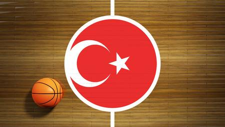 center court: Basketball court parquet floor center with flag of Turkey