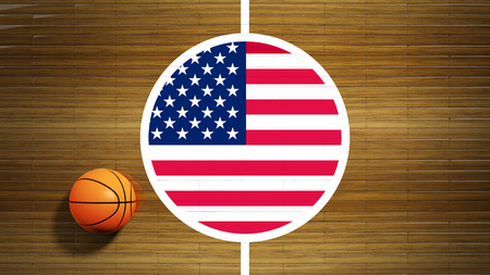 Basketball court parquet floor center with flag of USA photo