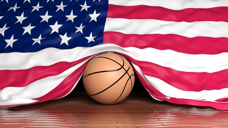 Basketball ball with flag of USA on parquet floor photo