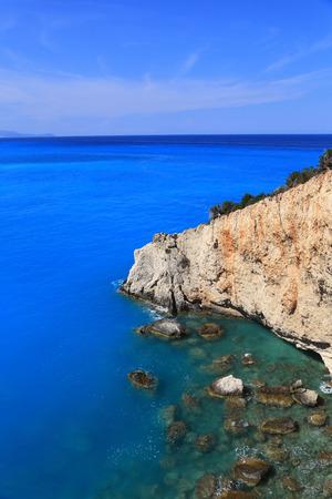 Cliff blue sea and horizon Lefkada Greece  photo