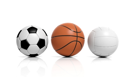 Volleyball, basketball and soccer balls isolated on white  photo