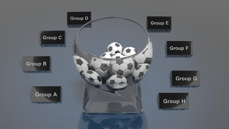 bowl game: Lottery glass bowl with soccer balls