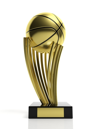 Basketball golden trophy isolated on white  photo