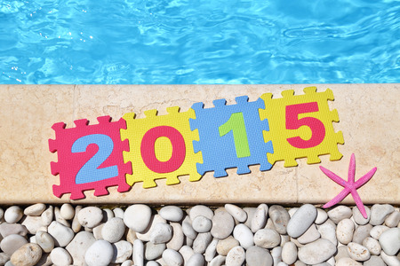 2015 by poolside made with jigsaw puzzle pieces  photo