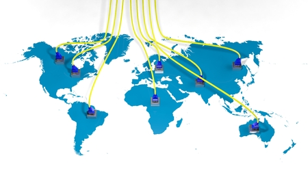 world location: World map with internet multiple access points and cables