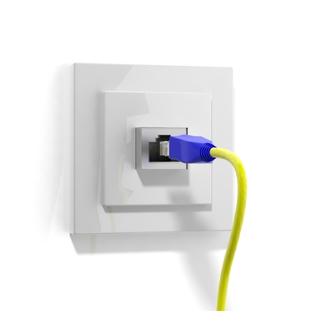 Network plug with cable isolated on white  photo