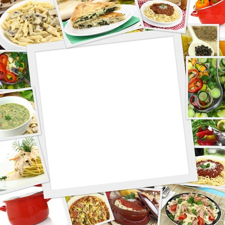 food photography: Collage with various dishes and blank frame in the middle  Stock Photo