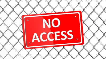 detain: Metal fence with red sign No Access isolated  Stock Photo