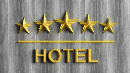 five element: Five golden stars and word Hotel on grey wood  Stock Photo