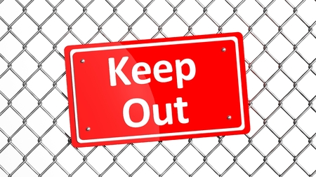 keep out: Metal fence with red sign Keep Out isolated  Stock Photo