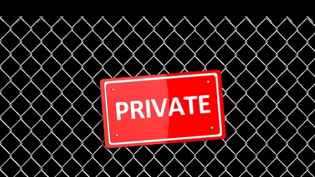 Metal fence with red sign Private isolated on black photo