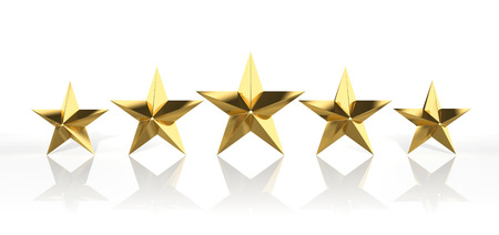 hotel reviews: Five golden stars isolated on white background