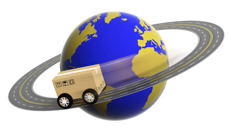 drive around the world: Earth circled by highway with box on wheels isolated Stock Photo