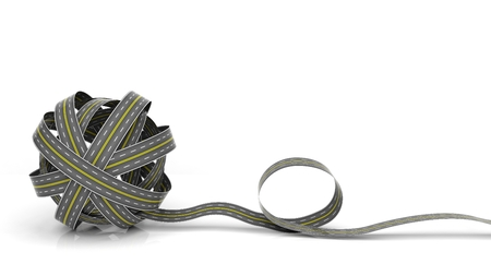 skein: Tangled road skein isolated on white background  Stock Photo