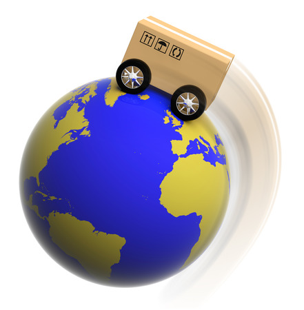 Earth circled with box on wheels isolated on white Stock Photo