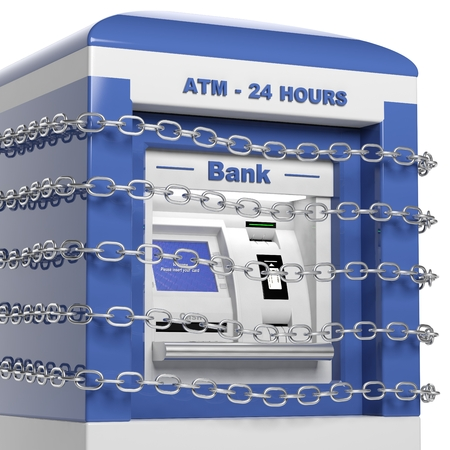 privileged: Atm machine in chains isolated on white background