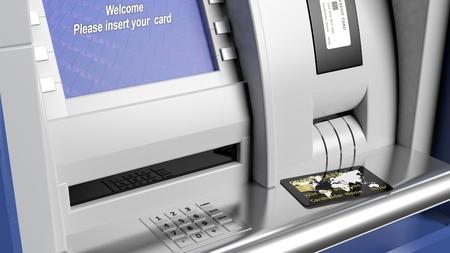 automatic transaction machine: Pantalla de la máquina de cajero automático y de cerca de teclado Foto de archivo