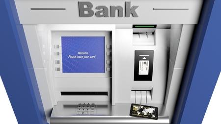 automatic transaction machine: Atm pantalla de la máquina de portarretrato con tarjeta de crédito Foto de archivo