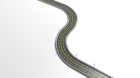 3D highway element isolated on white background