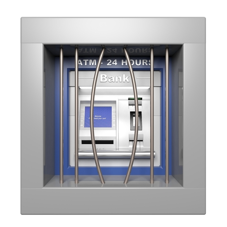 Atm machine with open prison bars isolated on white photo
